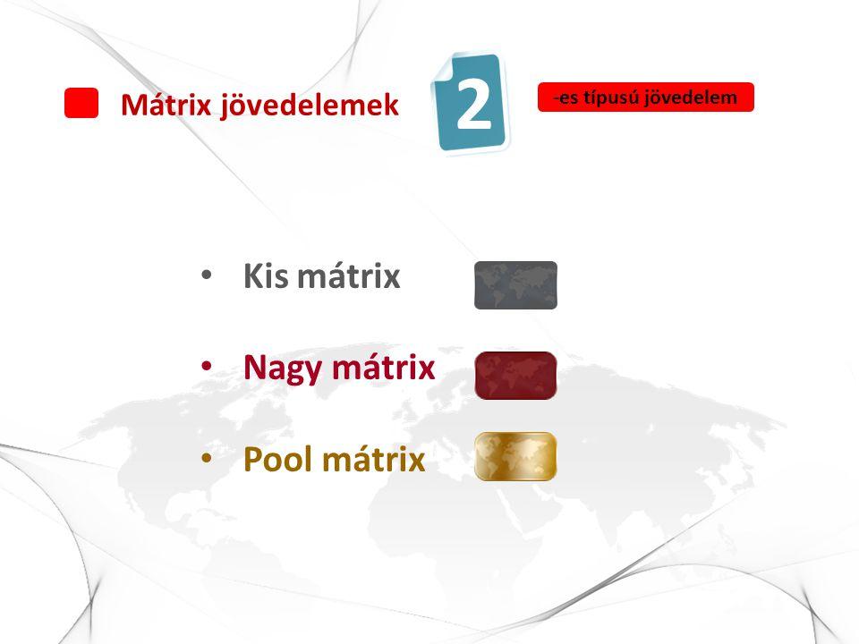 • Kis mátrix • Nagy mátrix • Pool mátrix Mátrix jövedelemek 2 -es típusú jövedelem