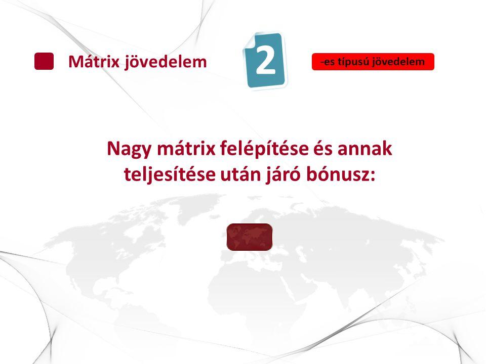 Nagy mátrix felépítése és annak teljesítése után járó bónusz: Mátrix jövedelem 2 -es típusú jövedelem