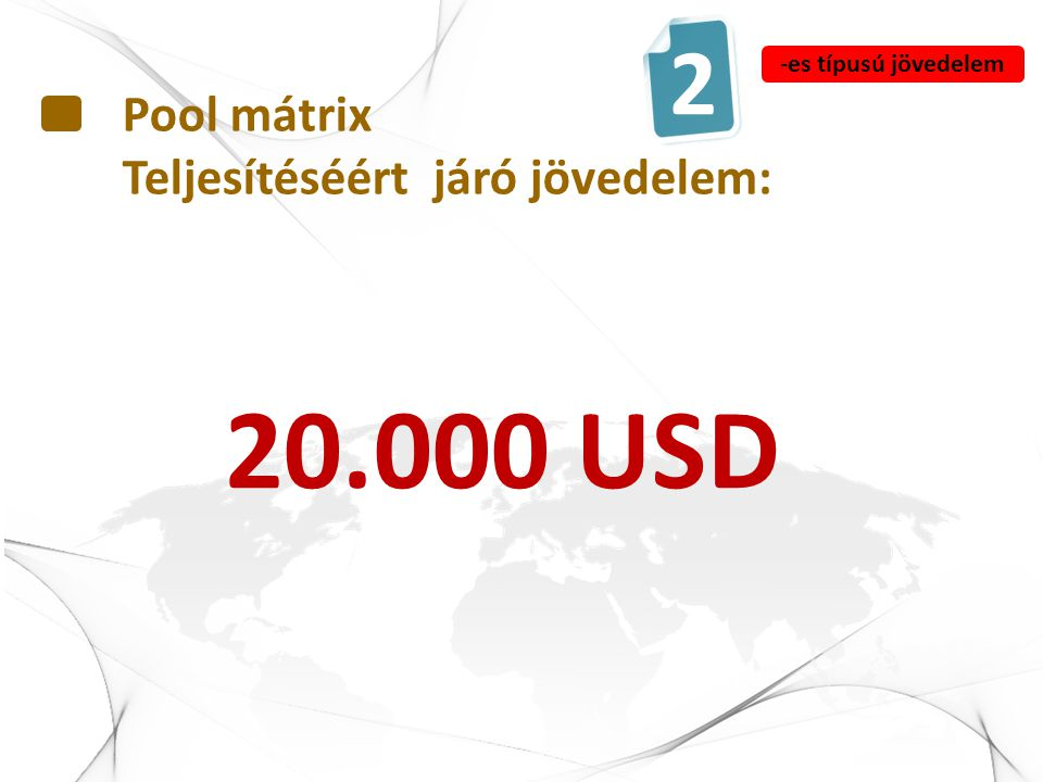 Pool mátrix Teljesítéséért járó jövedelem: 20.000 USD 2 -es típusú jövedelem