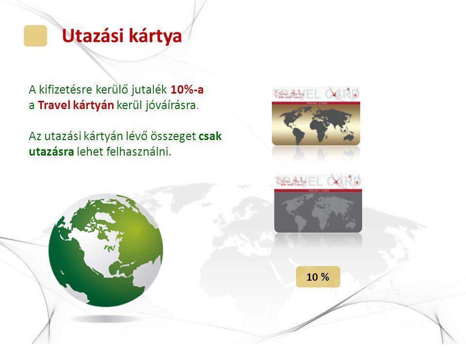 Utazási kártya A kifizetésre kerülő jutalék 10%-a a Travel kártyán kerül jóváírásra. Az utazási kártyán lévő összeget csak utazásra lehet felhasználni