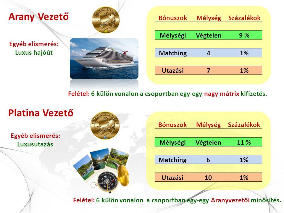 Arany Vezető Egyéb elismerés: Luxus hajóút BónuszokMélységSzázalékok MélységiVégtelen9 % Matching41% Utazási71% Platina Vezető BónuszokMélységSzázalék