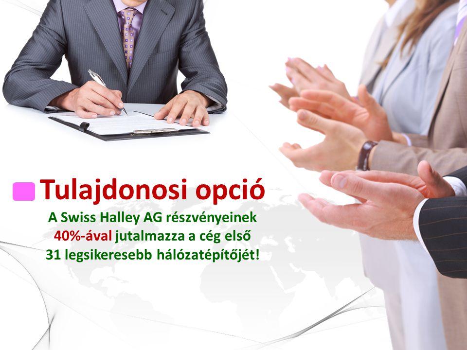 Tulajdonosi opció A Swiss Halley AG részvényeinek 40%-ával jutalmazza a cég első 31 legsikeresebb hálózatépítőjét!