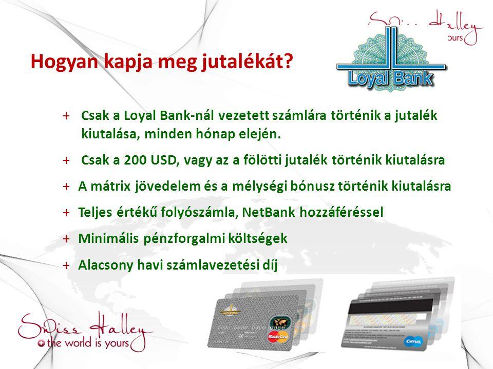 Hogyan kapja meg jutalékát? +Csak a Loyal Bank-nál vezetett számlára történik a jutalék kiutalása, minden hónap elején. +Csak a 200 USD, vagy az a föl