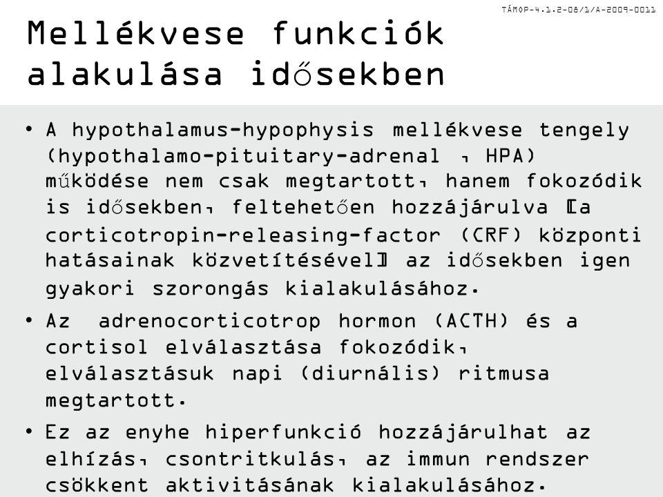 TÁMOP-4.1.2-08/1/A-2009-0011 •A hypothalamus-hypophysis mellékvese tengely (hypothalamo-pituitary-adrenal, HPA) működése nem csak megtartott, hanem fo