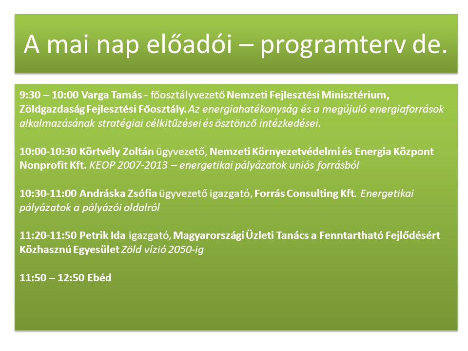 A mai nap előadói – programterv de. 9:30 – 10:00 Varga Tamás - főosztályvezető Nemzeti Fejlesztési Minisztérium, Zöldgazdaság Fejlesztési Főosztály. A