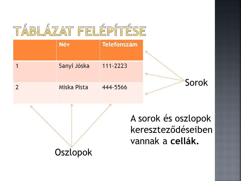 NévTelefonszám 1Sanyi Jóska111-2223 2Miska Pista444-5566 Oszlopok Sorok A sorok és oszlopok kereszteződéseiben vannak a cellák.