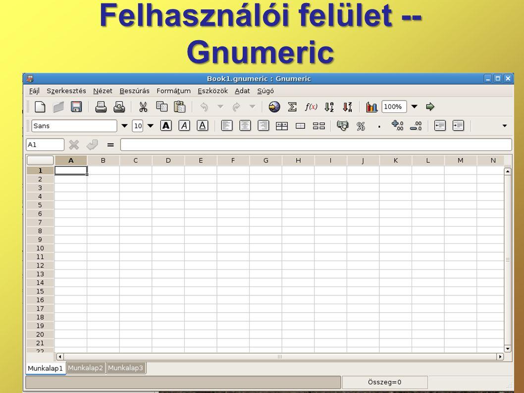 Felhasználói felület -- Gnumeric