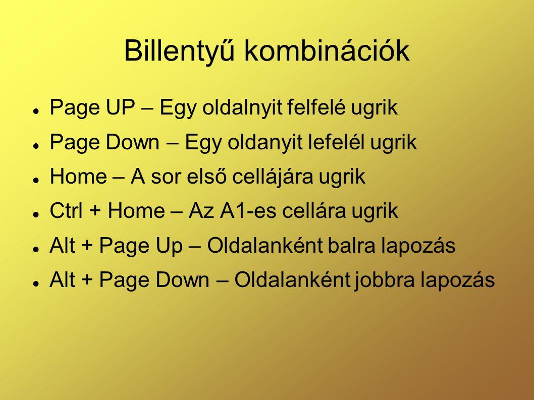 Billentyű kombinációk  Page UP – Egy oldalnyit felfelé ugrik  Page Down – Egy oldanyit lefelél ugrik  Home – A sor első cellájára ugrik  Ctrl + Ho