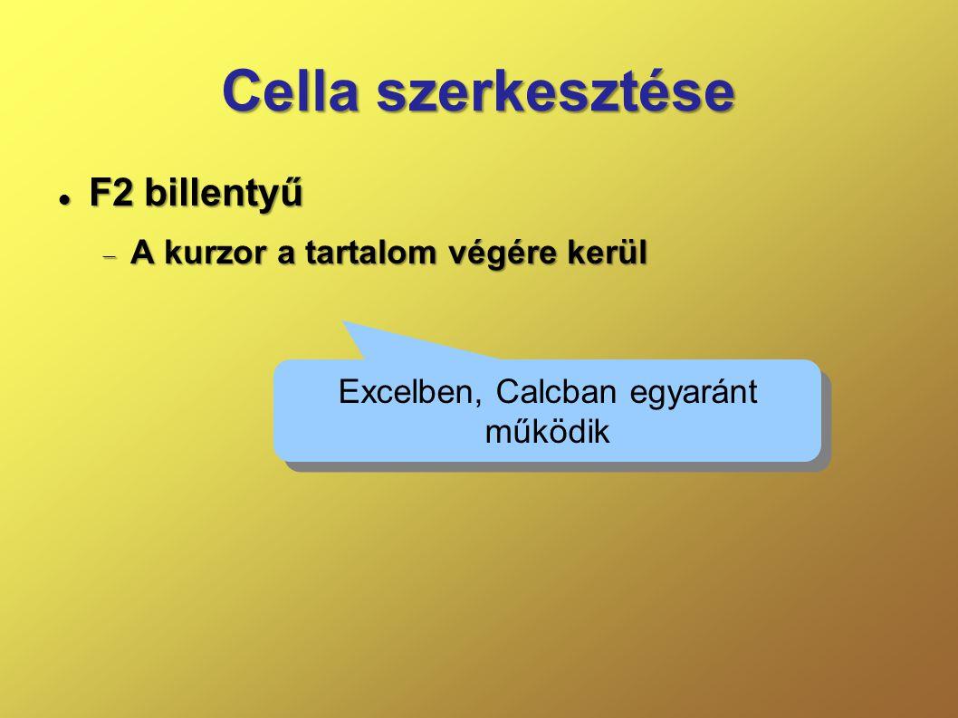Cella szerkesztése  F2 billentyű  A kurzor a tartalom végére kerül Excelben, Calcban egyaránt működik