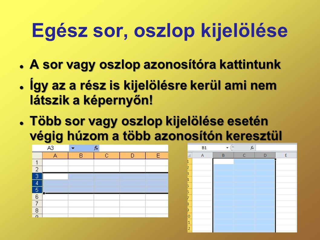 Egész sor, oszlop kijelölése  A sor vagy oszlop azonosítóra kattintunk  Így az a rész is kijelölésre kerül ami nem látszik a képernyőn!  Több sor v