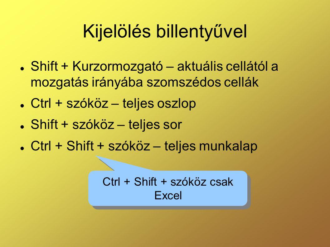 Kijelölés billentyűvel  Shift + Kurzormozgató – aktuális cellától a mozgatás irányába szomszédos cellák  Ctrl + szóköz – teljes oszlop  Shift + szó
