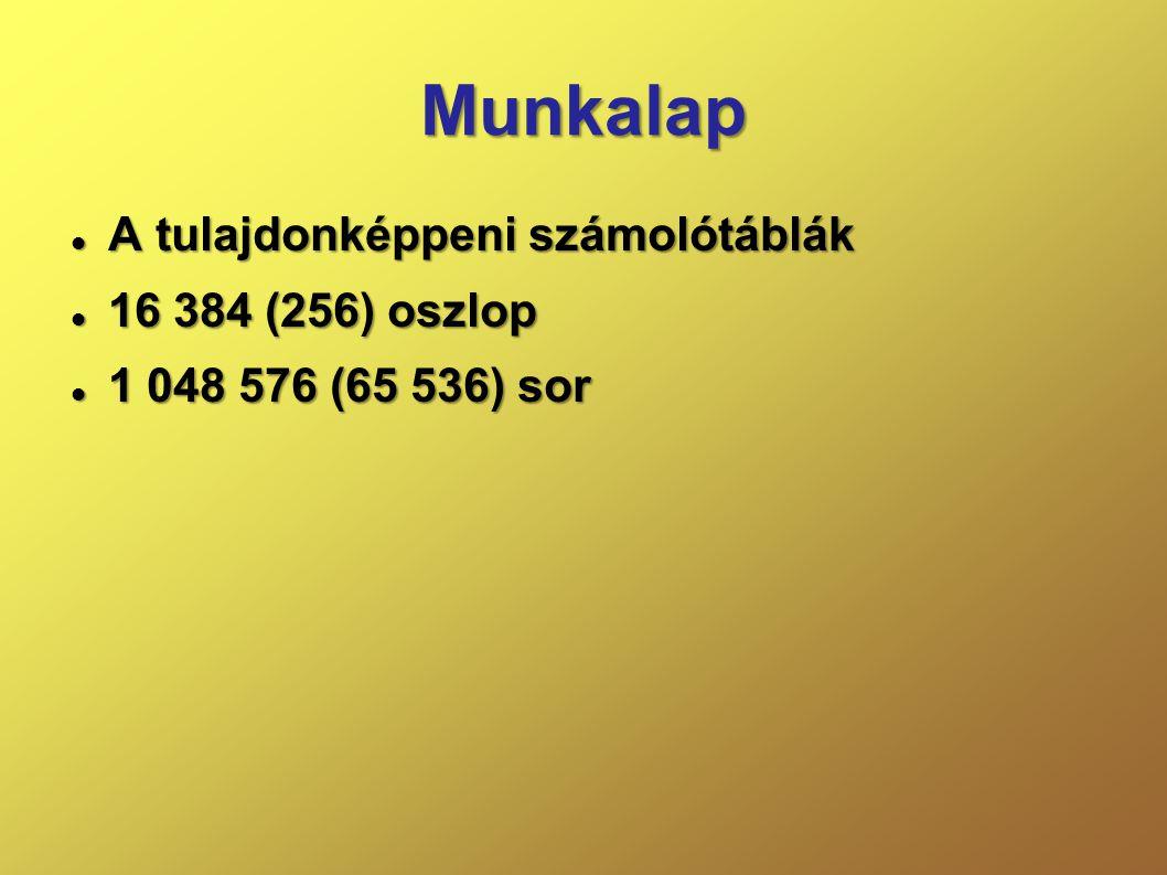 Munkalap  A tulajdonképpeni számolótáblák  16 384 (256) oszlop  1 048 576 (65 536) sor