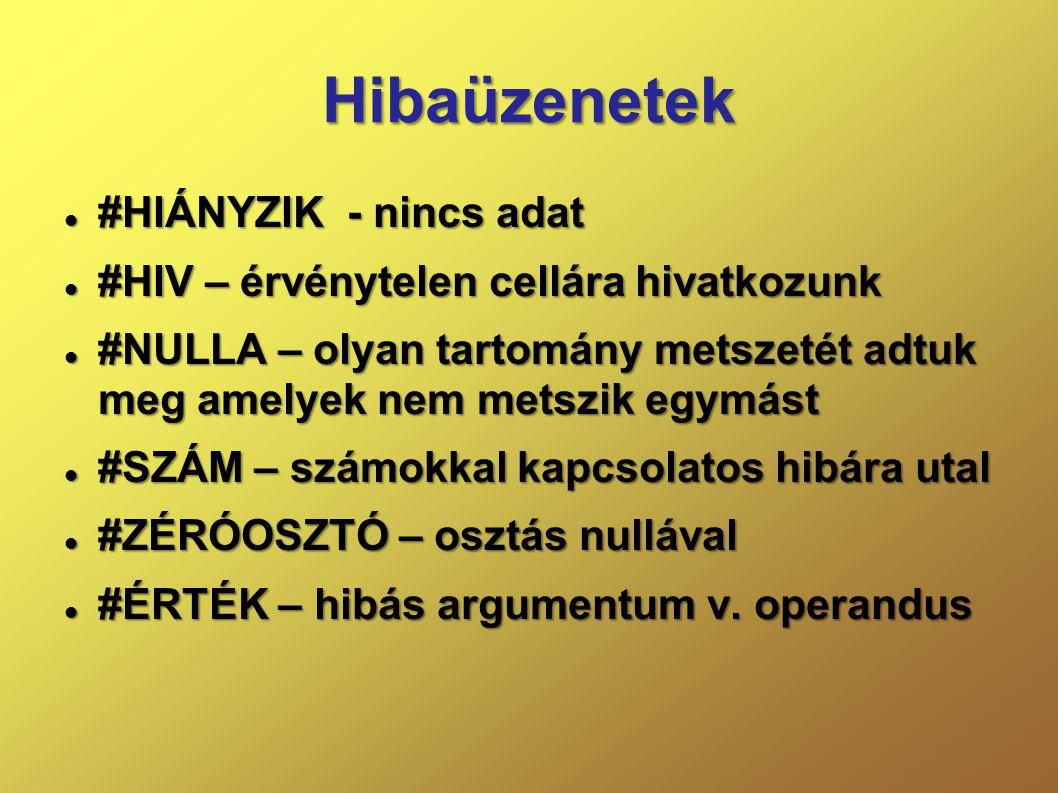 Hibaüzenetek  #HIÁNYZIK - nincs adat  #HIV – érvénytelen cellára hivatkozunk  #NULLA – olyan tartomány metszetét adtuk meg amelyek nem metszik egym