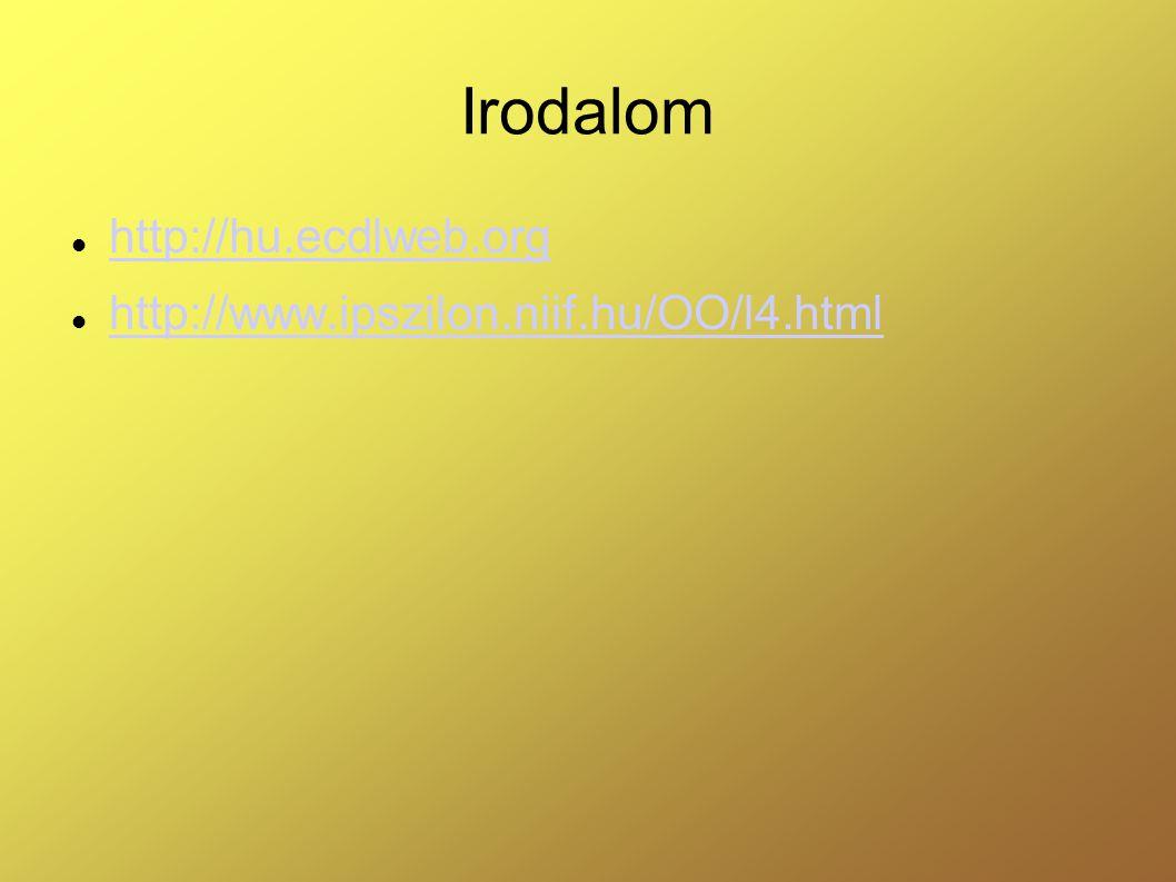 Irodalom  http://hu.ecdlweb.org http://hu.ecdlweb.org  http://www.ipszilon.niif.hu/OO/l4.html http://www.ipszilon.niif.hu/OO/l4.html
