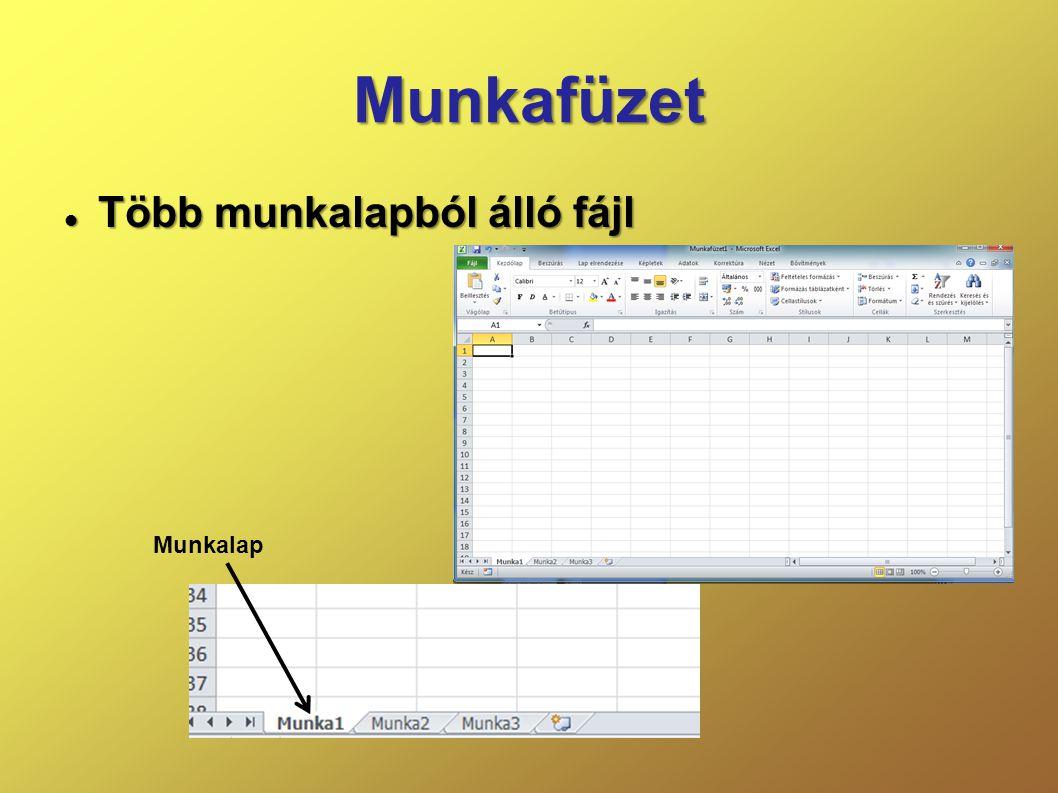 Kijelölés billentyűvel  Shift + Kurzormozgató – aktuális cellától a mozgatás irányába szomszédos cellák  Ctrl + szóköz – teljes oszlop  Shift + szóköz – teljes sor  Ctrl + Shift + szóköz – teljes munkalap Ctrl + Shift + szóköz csak Excel