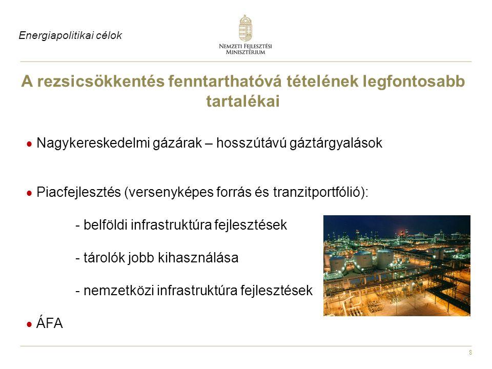 19 Piac-összekapcsolás és regionális villamosenergia-piaci integráció Eredmények : Sikeres cseh - szlovák - magyar piacintegráció A hatékony működés növelte a csatlakozni kívánó országok számát - Románia, Lengyelország és Horvátország is érdeklődik Energiapolitikai eredmények