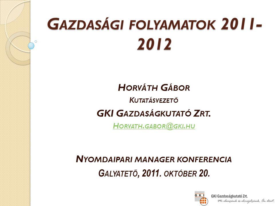 GKI Zrt., www.gki.hu R EÁLJÖVEDELEM ÉS KISKERESKEDELMI FORGALOMVÁLTOZÁS, 2000-2012 (előző év = 100) Forrás: KSH