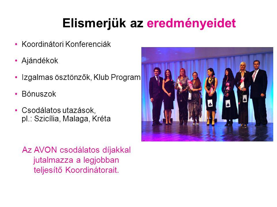 Elismerjük az eredményeidet •Koordinátori Konferenciák •Ajándékok •Izgalmas ösztönzők, Klub Program •Bónuszok •Csodálatos utazások, pl.: Szicília, Mal