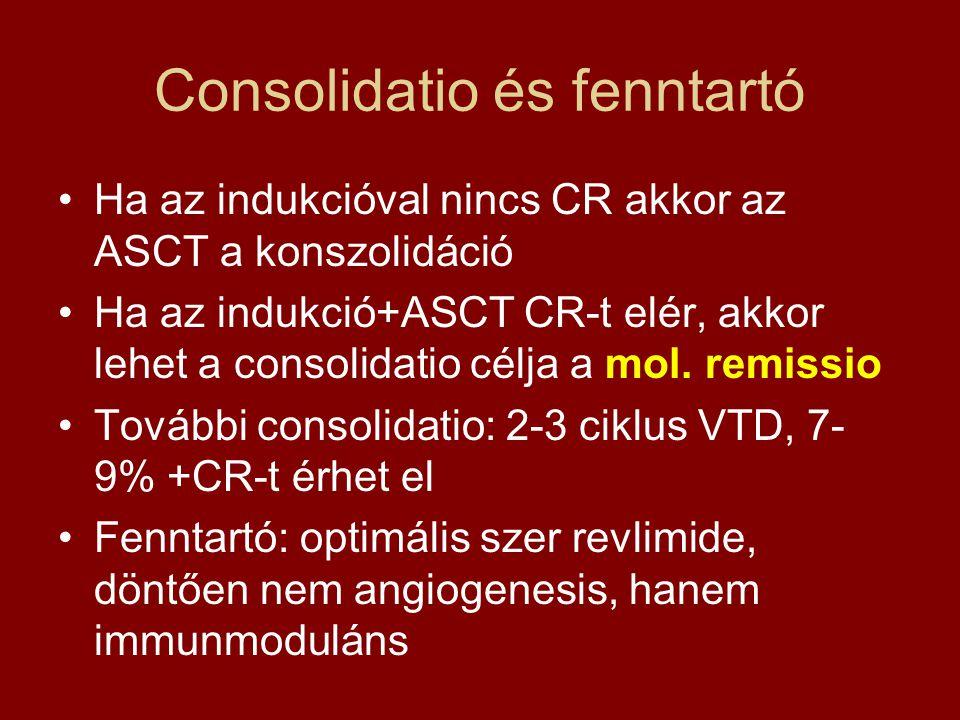 Consolidatio és fenntartó •Ha az indukcióval nincs CR akkor az ASCT a konszolidáció •Ha az indukció+ASCT CR-t elér, akkor lehet a consolidatio célja a