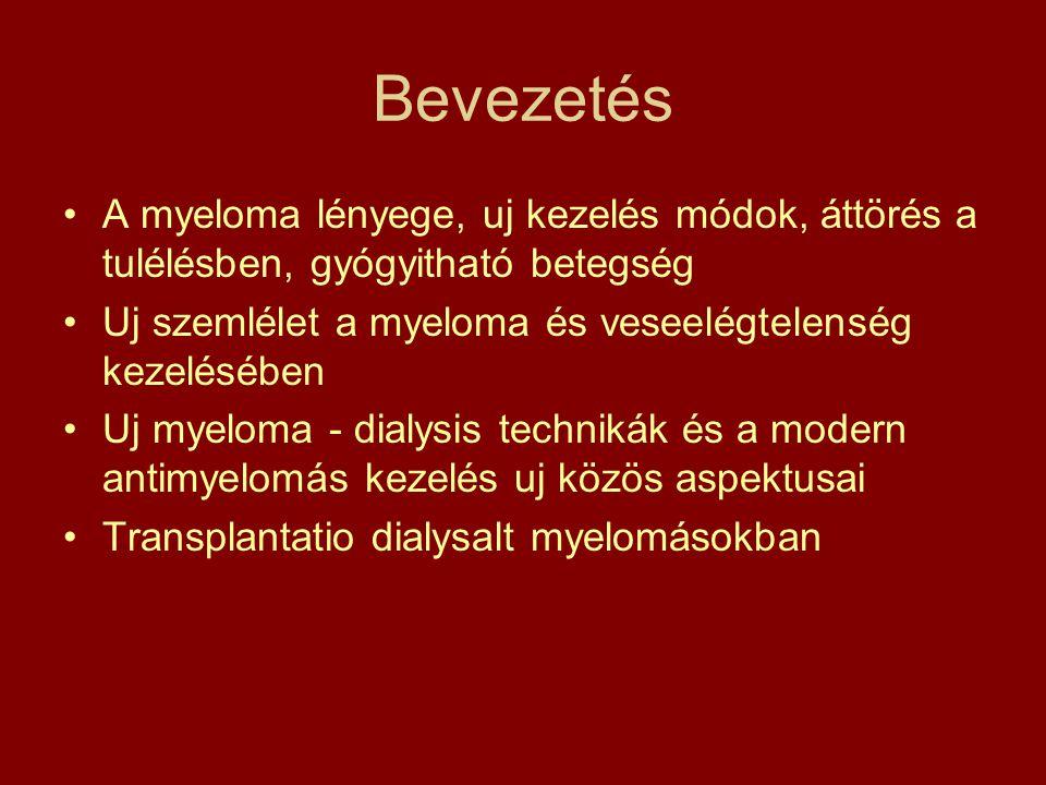 Bevezetés •A myeloma lényege, uj kezelés módok, áttörés a tulélésben, gyógyitható betegség •Uj szemlélet a myeloma és veseelégtelenség kezelésében •Uj