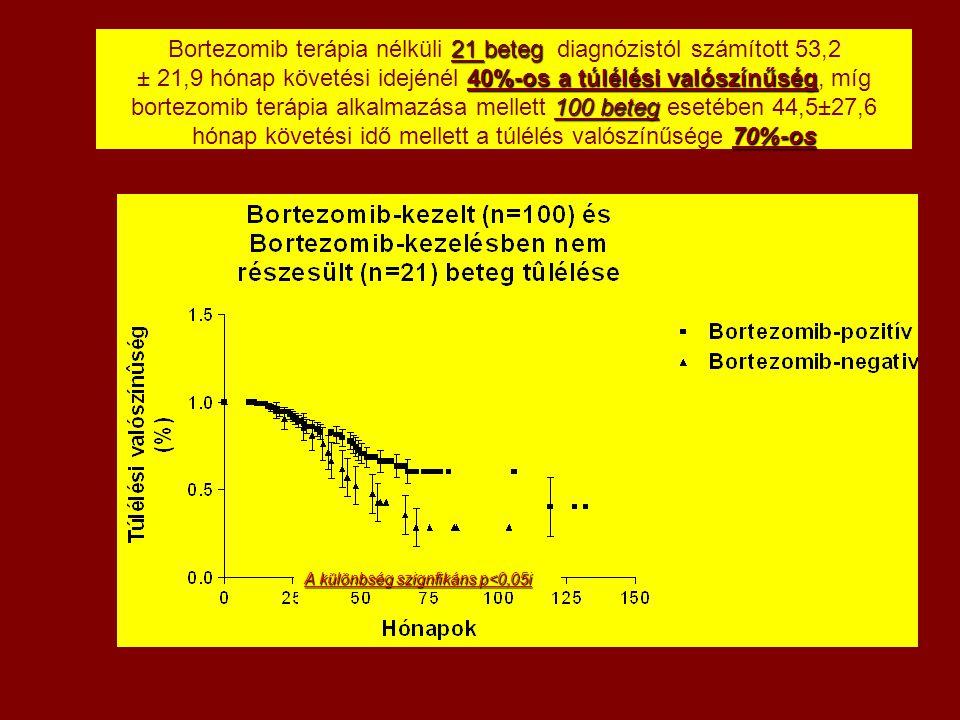 21 beteg 40%-os a túlélési valószínűség 100 beteg 70%-os Bortezomib terápia nélküli 21 beteg diagnózistól számított 53,2 ± 21,9 hónap követési idejéné