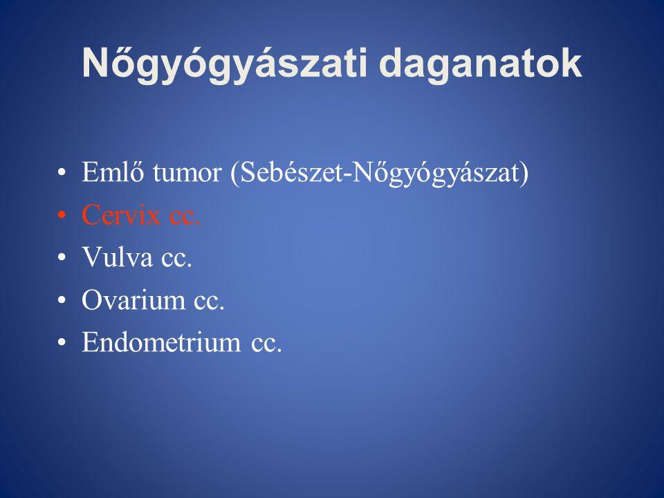 Nőgyógyászati daganatok •Emlő tumor (Sebészet-Nőgyógyászat) •Cervix cc. •Vulva cc. •Ovarium cc. •Endometrium cc.