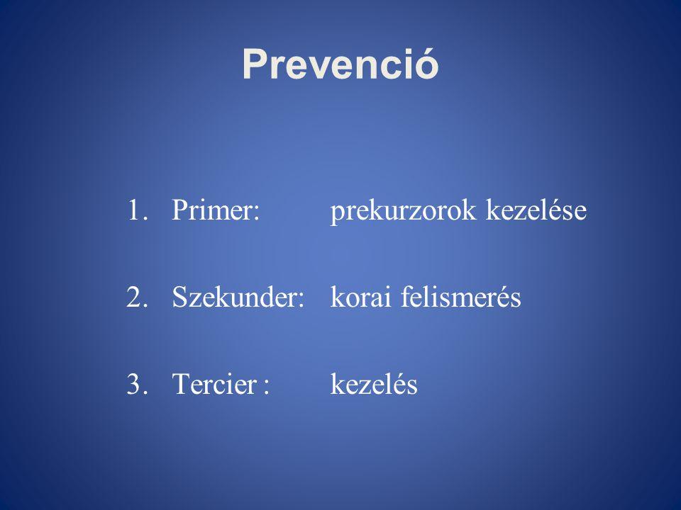 Prevenció 1.Primer:prekurzorok kezelése 2.Szekunder:korai felismerés 3.Tercier:kezelés