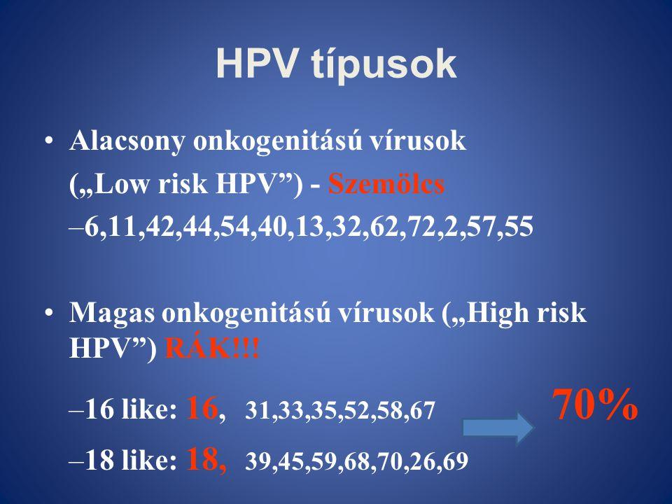 "HPV típusok •Alacsony onkogenitású vírusok (""Low risk HPV"") - Szemölcs –6,11,42,44,54,40,13,32,62,72,2,57,55 •Magas onkogenitású vírusok (""High risk H"