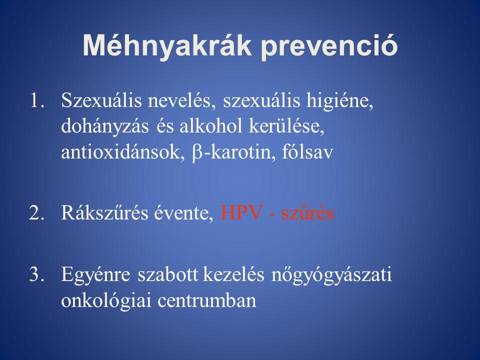 Méhnyakrák prevenció 1.Szexuális nevelés, szexuális higiéne, dohányzás és alkohol kerülése, antioxidánsok,  -karotin, fólsav 2.Rákszűrés évente, HPV