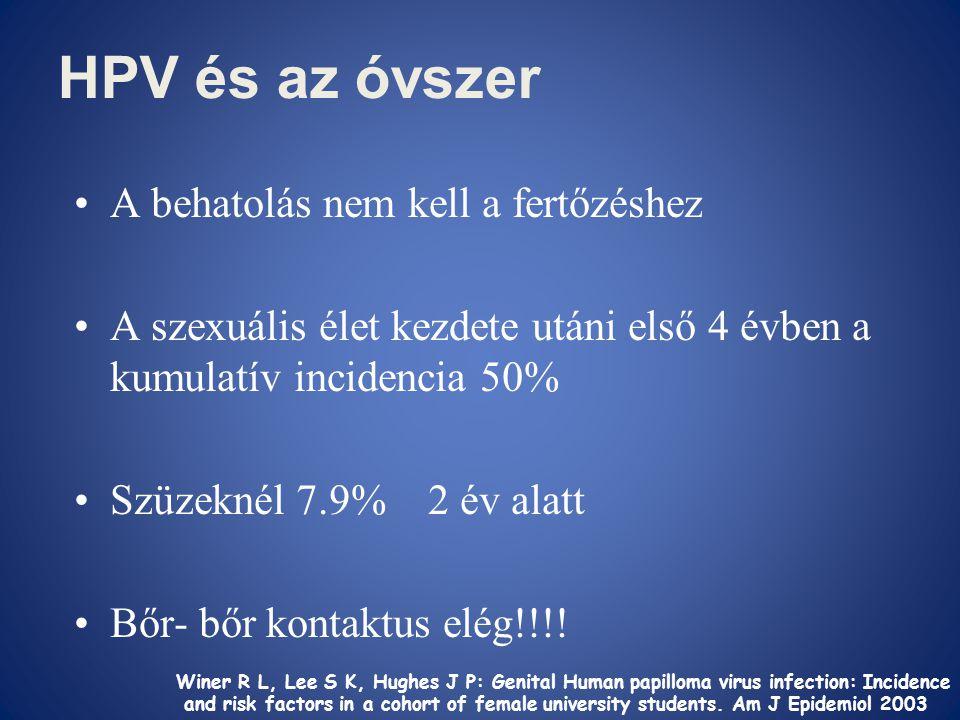 HPV és az óvszer •A behatolás nem kell a fertőzéshez •A szexuális élet kezdete utáni első 4 évben a kumulatív incidencia 50% •Szüzeknél 7.9% 2 év alat