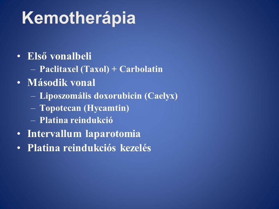 Kemotherápia •Első vonalbeli –Paclitaxel (Taxol) + Carbolatin •Második vonal –Liposzomális doxorubicin (Caelyx) –Topotecan (Hycamtin) –Platina reinduk