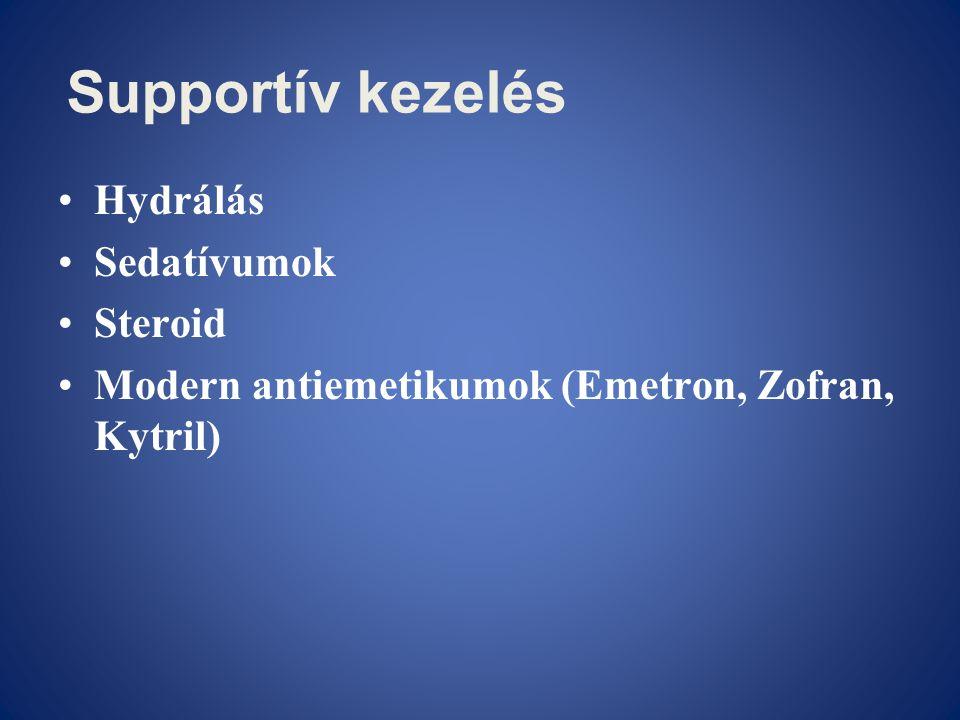 Supportív kezelés •Hydrálás •Sedatívumok •Steroid •Modern antiemetikumok (Emetron, Zofran, Kytril)