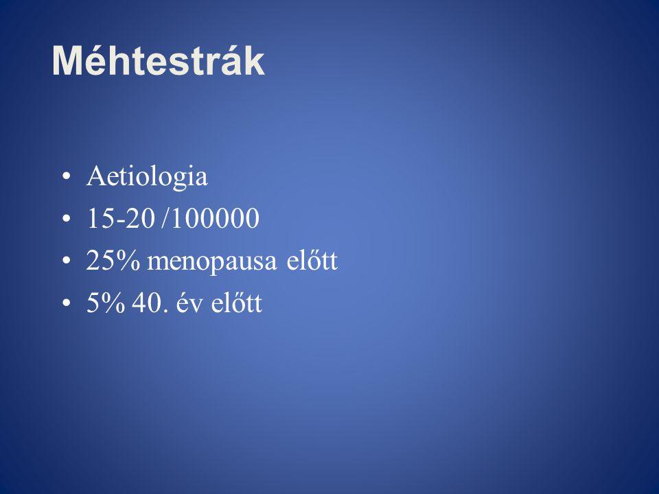 Méhtestrák •Aetiologia •15-20 /100000 •25% menopausa előtt •5% 40. év előtt
