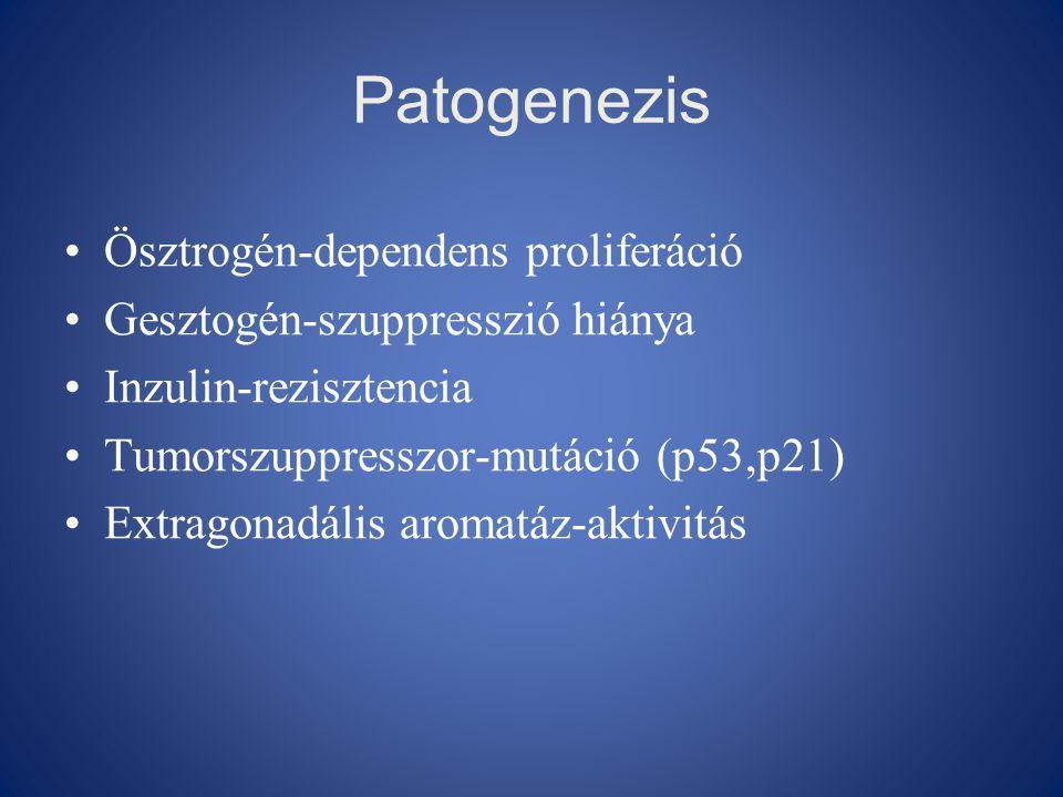 Patogenezis •Ösztrogén-dependens proliferáció •Gesztogén-szuppresszió hiánya •Inzulin-rezisztencia •Tumorszuppresszor-mutáció (p53,p21) •Extragonadáli