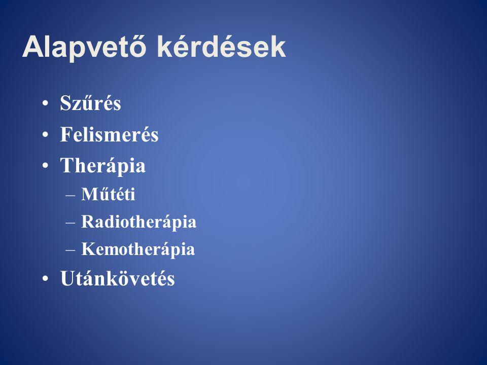 Alapvető kérdések •Szűrés •Felismerés •Therápia –Műtéti –Radiotherápia –Kemotherápia •Utánkövetés