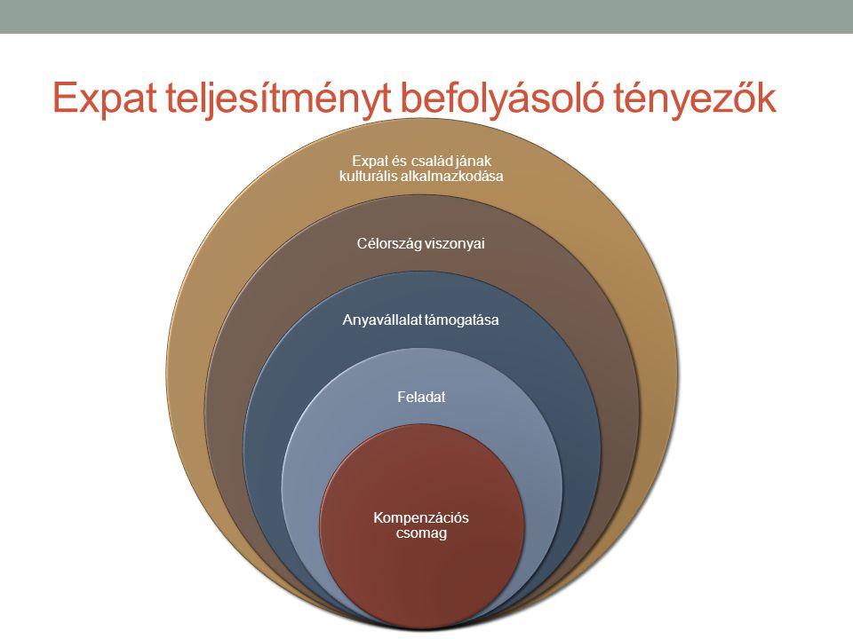 Expat teljesítményt befolyásoló tényezők Expat és család jának kulturális alkalmazkodása Célország viszonyai Anyavállalat támogatása Feladat Kompenzációs csomag