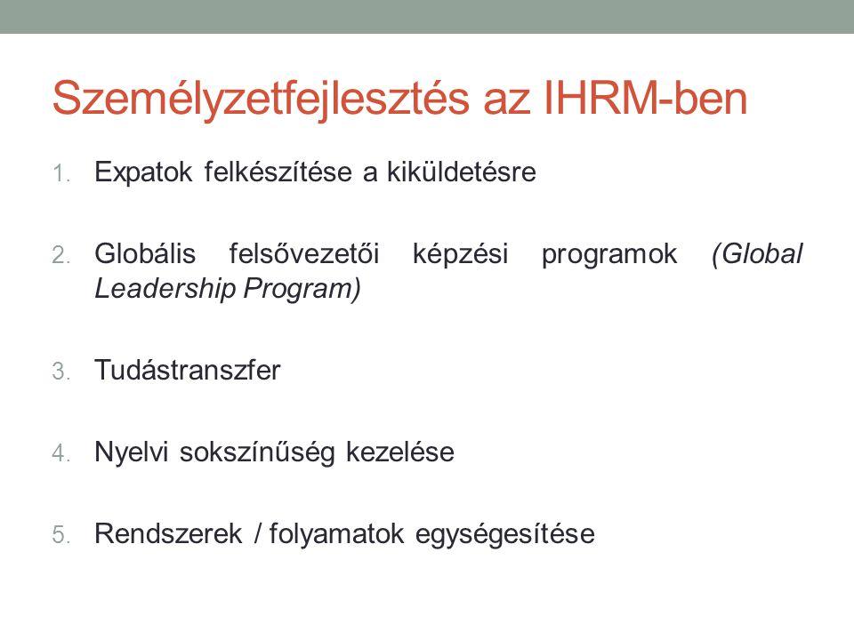 Személyzetfejlesztés az IHRM-ben 1. Expatok felkészítése a kiküldetésre 2. Globális felsővezetői képzési programok (Global Leadership Program) 3. Tudá