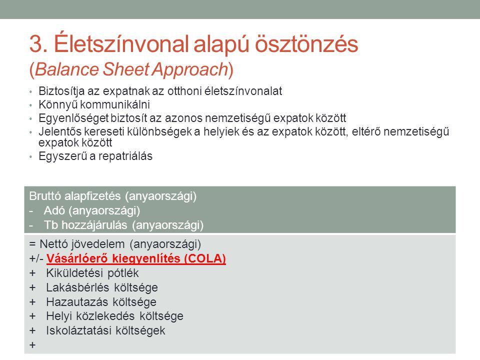 3. Életszínvonal alapú ösztönzés (Balance Sheet Approach) • Biztosítja az expatnak az otthoni életszínvonalat • Könnyű kommunikálni • Egyenlőséget biz