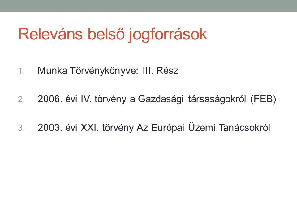 Releváns belső jogforrások 1. Munka Törvénykönyve: III. Rész 2. 2006. évi IV. törvény a Gazdasági társaságokról (FEB) 3. 2003. évi XXI. törvény Az Eur