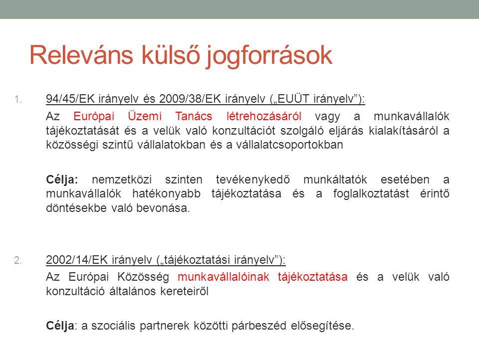 """Releváns külső jogforrások 1. 94/45/EK irányelv és 2009/38/EK irányelv (""""EUÜT irányelv""""): Az Európai Üzemi Tanács létrehozásáról vagy a munkavállalók"""