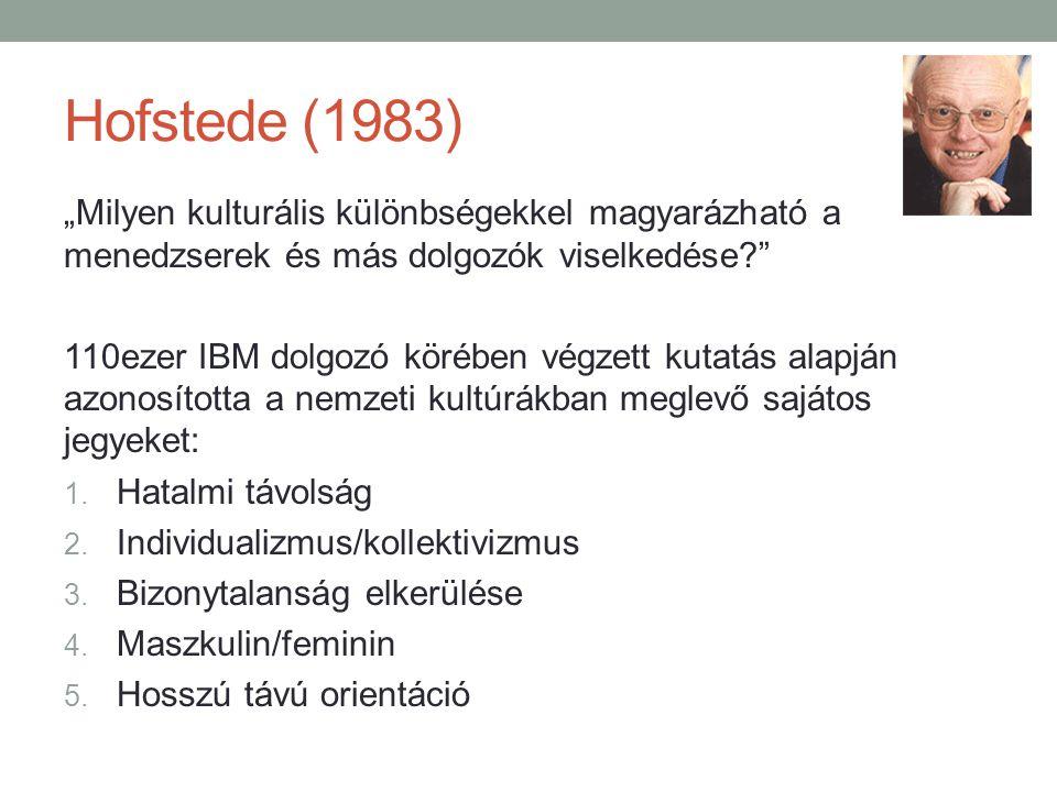 """Hofstede (1983) """"Milyen kulturális különbségekkel magyarázható a menedzserek és más dolgozók viselkedése? 110ezer IBM dolgozó körében végzett kutatás alapján azonosította a nemzeti kultúrákban meglevő sajátos jegyeket: 1."""