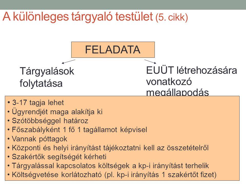 A különleges tárgyaló testület (5. cikk) Tárgyalások folytatása EUÜT létrehozására vonatkozó megállapodás megkötése FELADATA • 3-17 tagja lehet • Ügyr