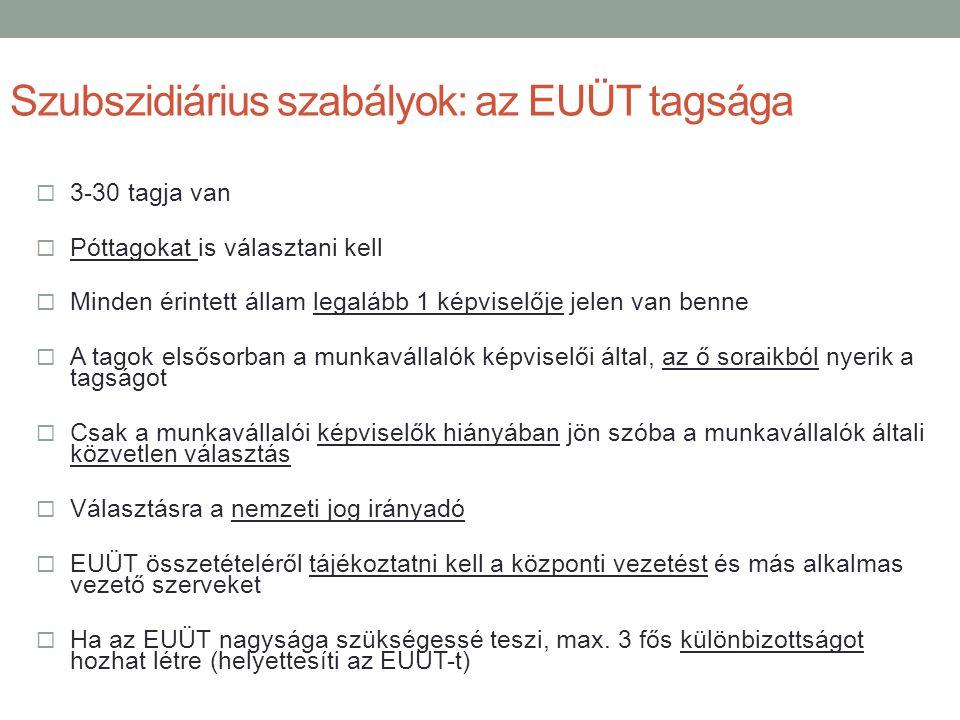 Szubszidiárius szabályok: az EUÜT tagsága  3-30 tagja van  Póttagokat is választani kell  Minden érintett állam legalább 1 képviselője jelen van be