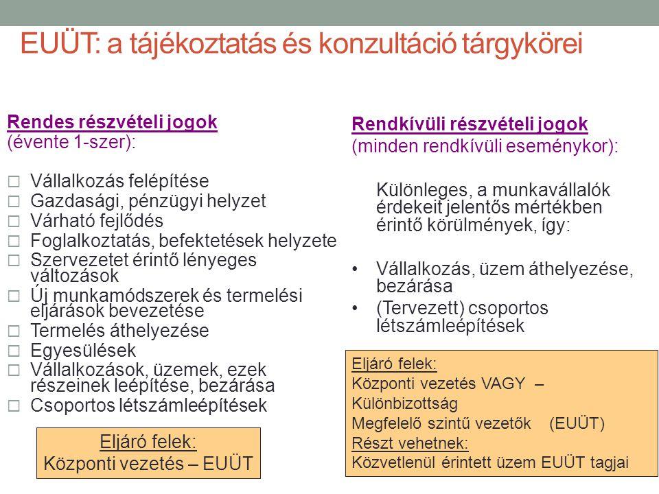 EUÜT: a tájékoztatás és konzultáció tárgykörei Rendes részvételi jogok (évente 1-szer):  Vállalkozás felépítése  Gazdasági, pénzügyi helyzet  Várha