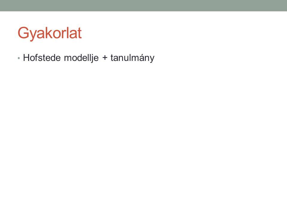 Gyakorlat • Hofstede modellje + tanulmány