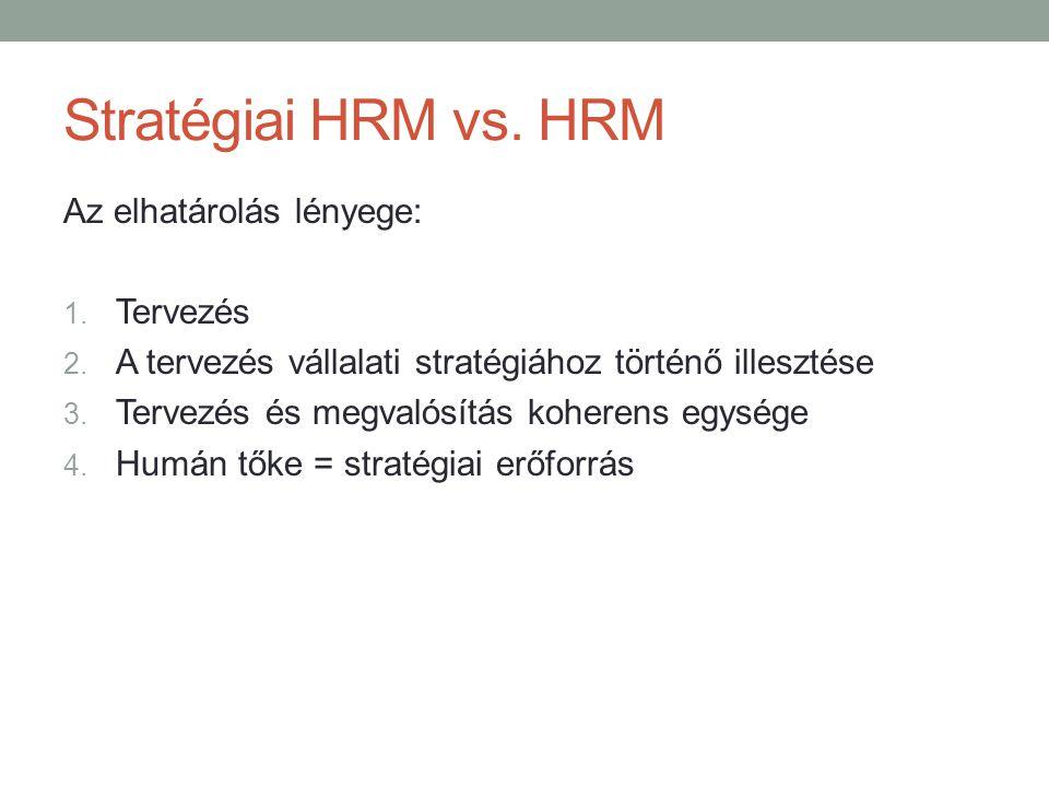 Stratégiai HRM vs. HRM Az elhatárolás lényege: 1. Tervezés 2. A tervezés vállalati stratégiához történő illesztése 3. Tervezés és megvalósítás koheren
