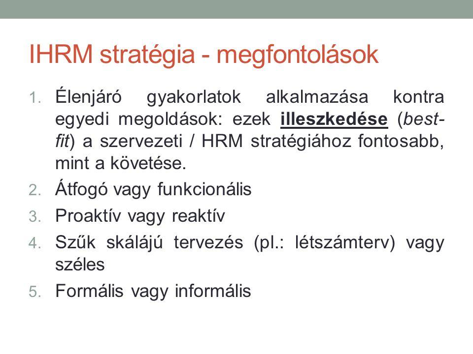 IHRM stratégia - megfontolások 1. Élenjáró gyakorlatok alkalmazása kontra egyedi megoldások: ezek illeszkedése (best- fit) a szervezeti / HRM stratégi