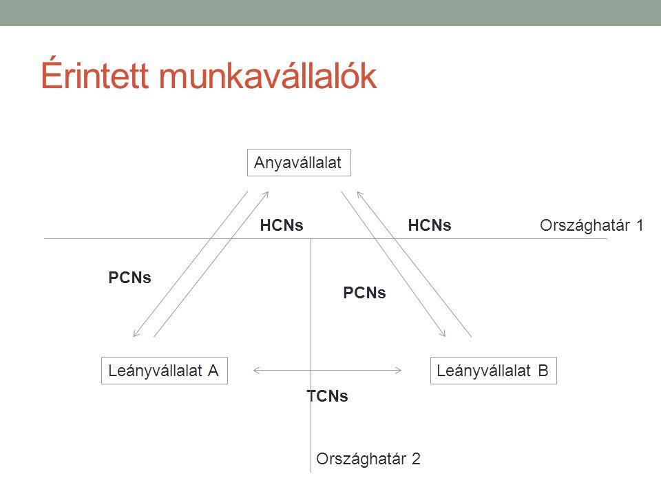 Érintett munkavállalók Anyavállalat Leányvállalat BLeányvállalat A PCNs HCNs PCNs HCNs TCNs Országhatár 1 Országhatár 2