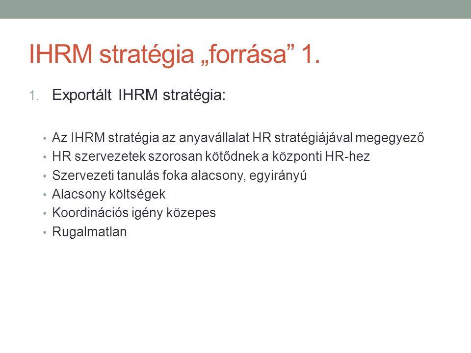 """IHRM stratégia """"forrása"""" 1. 1. Exportált IHRM stratégia: • Az IHRM stratégia az anyavállalat HR stratégiájával megegyező • HR szervezetek szorosan köt"""