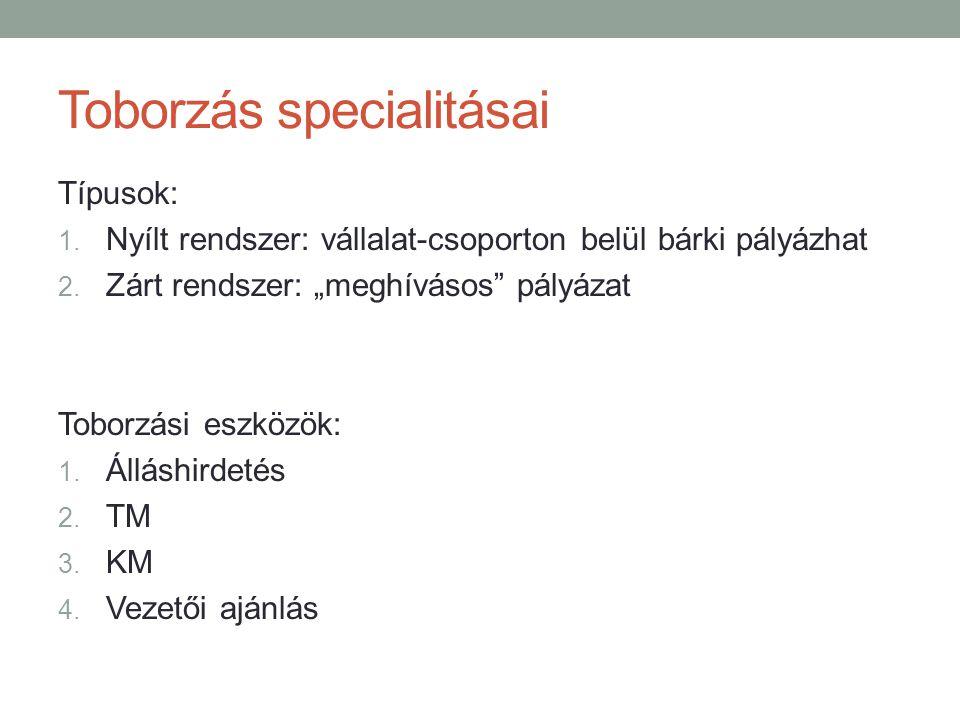 """Toborzás specialitásai Típusok: 1. Nyílt rendszer: vállalat-csoporton belül bárki pályázhat 2. Zárt rendszer: """"meghívásos"""" pályázat Toborzási eszközök"""